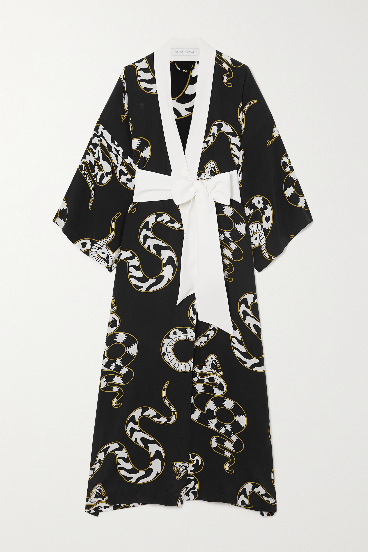 Olivia von Halle Queenie printed silk crepe de chine robe