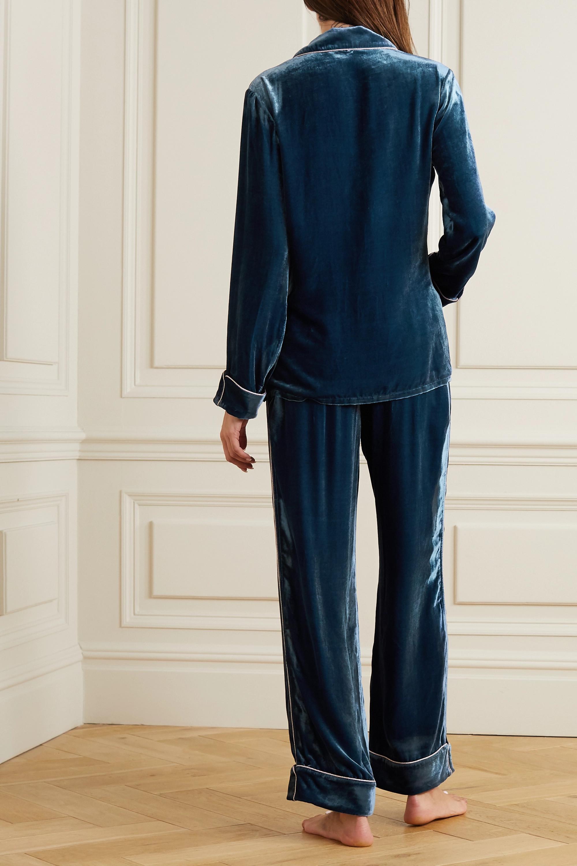 Olivia von Halle Coco Pyjama aus Samt mit Besätzen aus Lurex®
