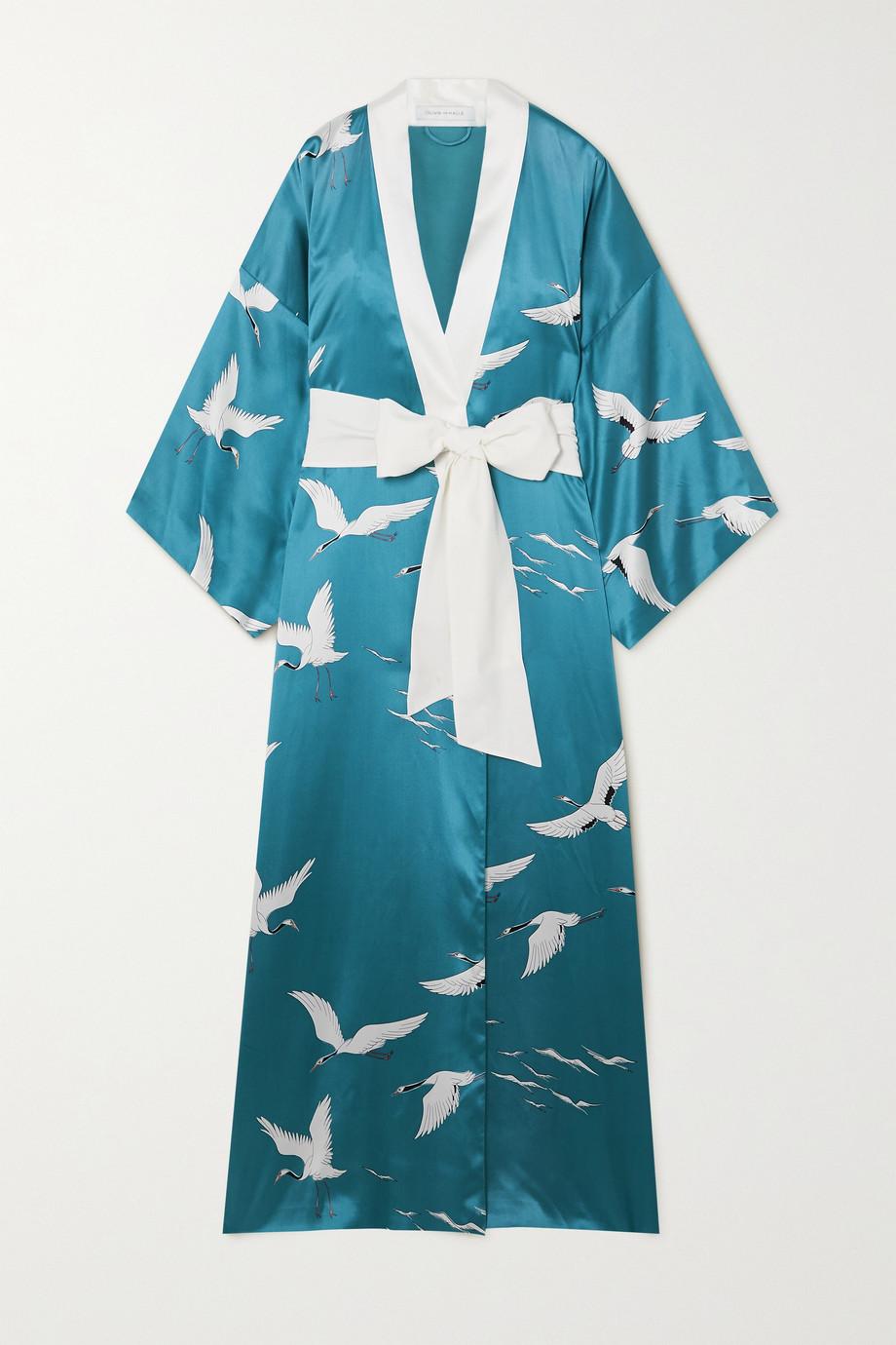 Olivia von Halle Queenie printed silk-satin robe