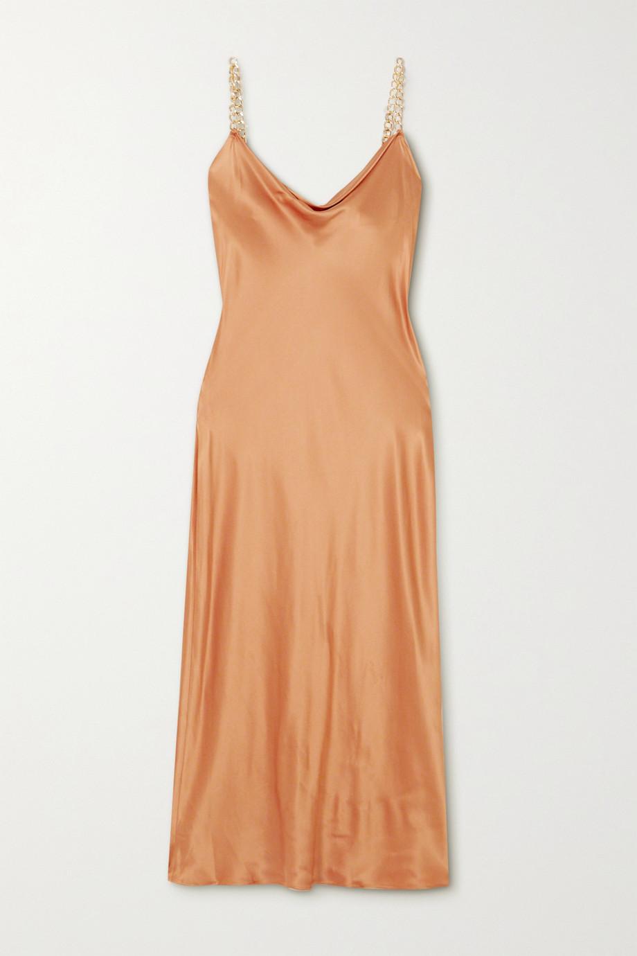 Olivia von Halle Bibi chain-embellished silk-satin midi dress