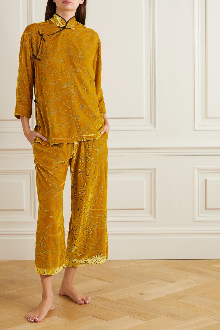 Olivia von Halle Harlow devoré-velvet pajama set