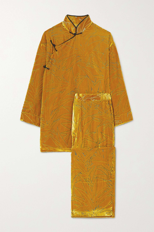 Olivia von Halle Harlow Pyjama aus Devoré-Samt