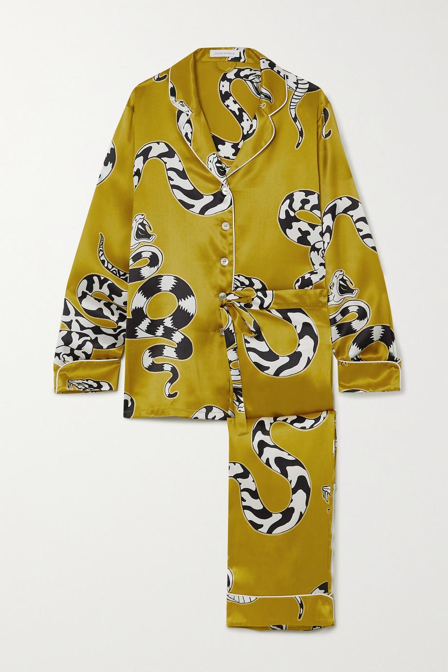 Olivia von Halle Lila Pyjama aus bedrucktem Seidensatin