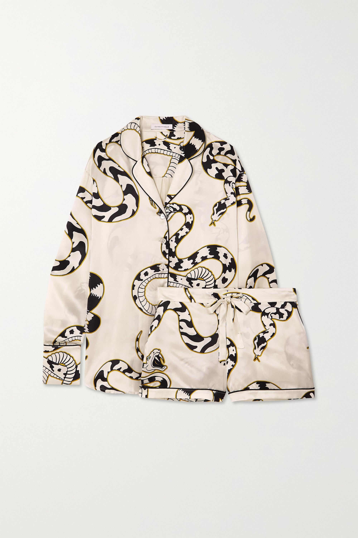 Olivia von Halle Alba Pyjama aus Seidensatin mit Print