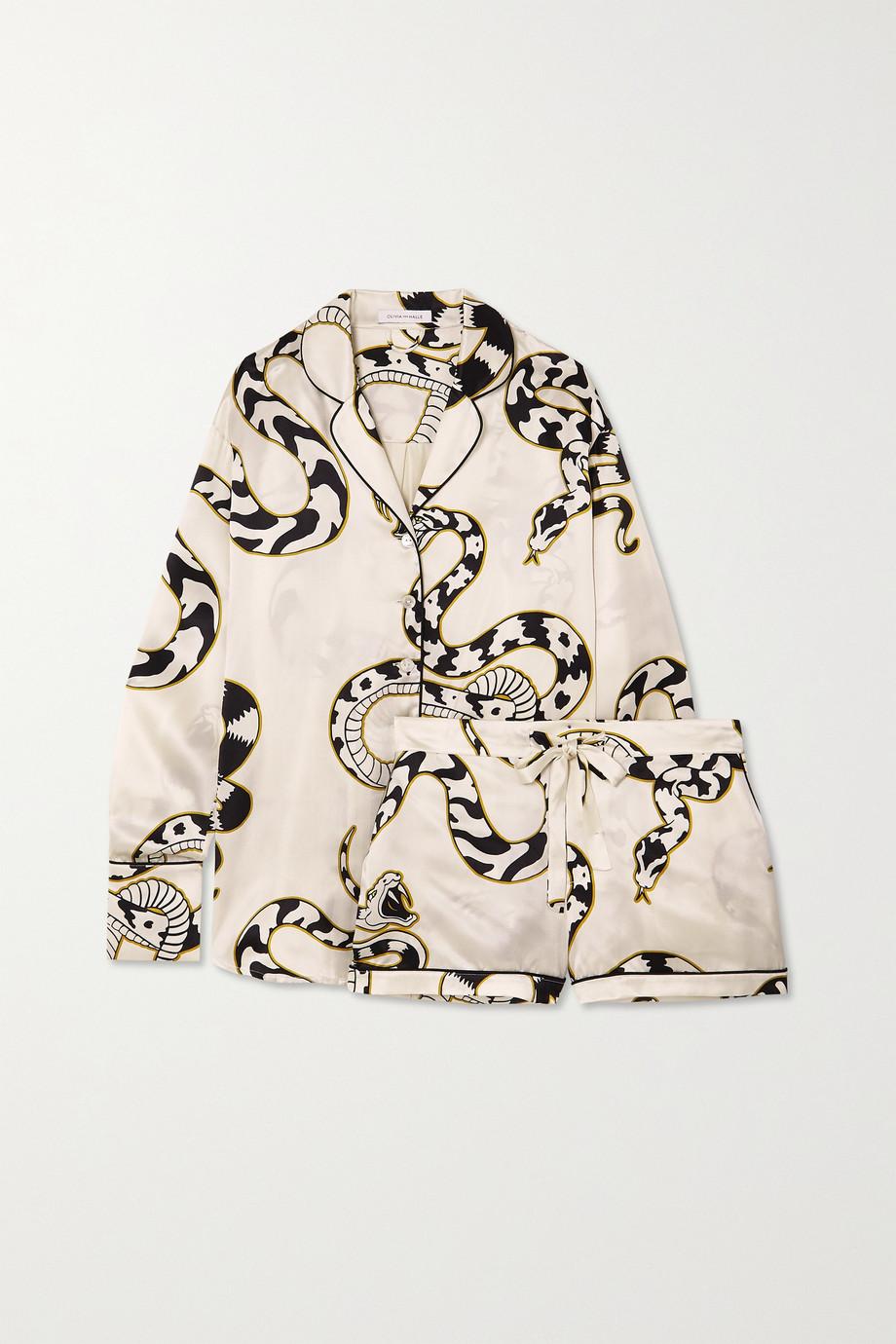 Olivia von Halle Alba printed silk-satin pajama set