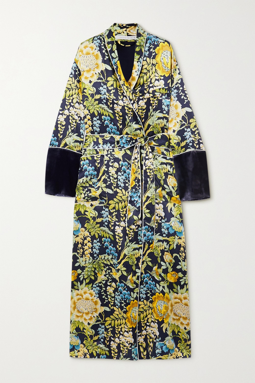 Olivia von Halle Capability velvet-trimmed floral-print silk-satin robe