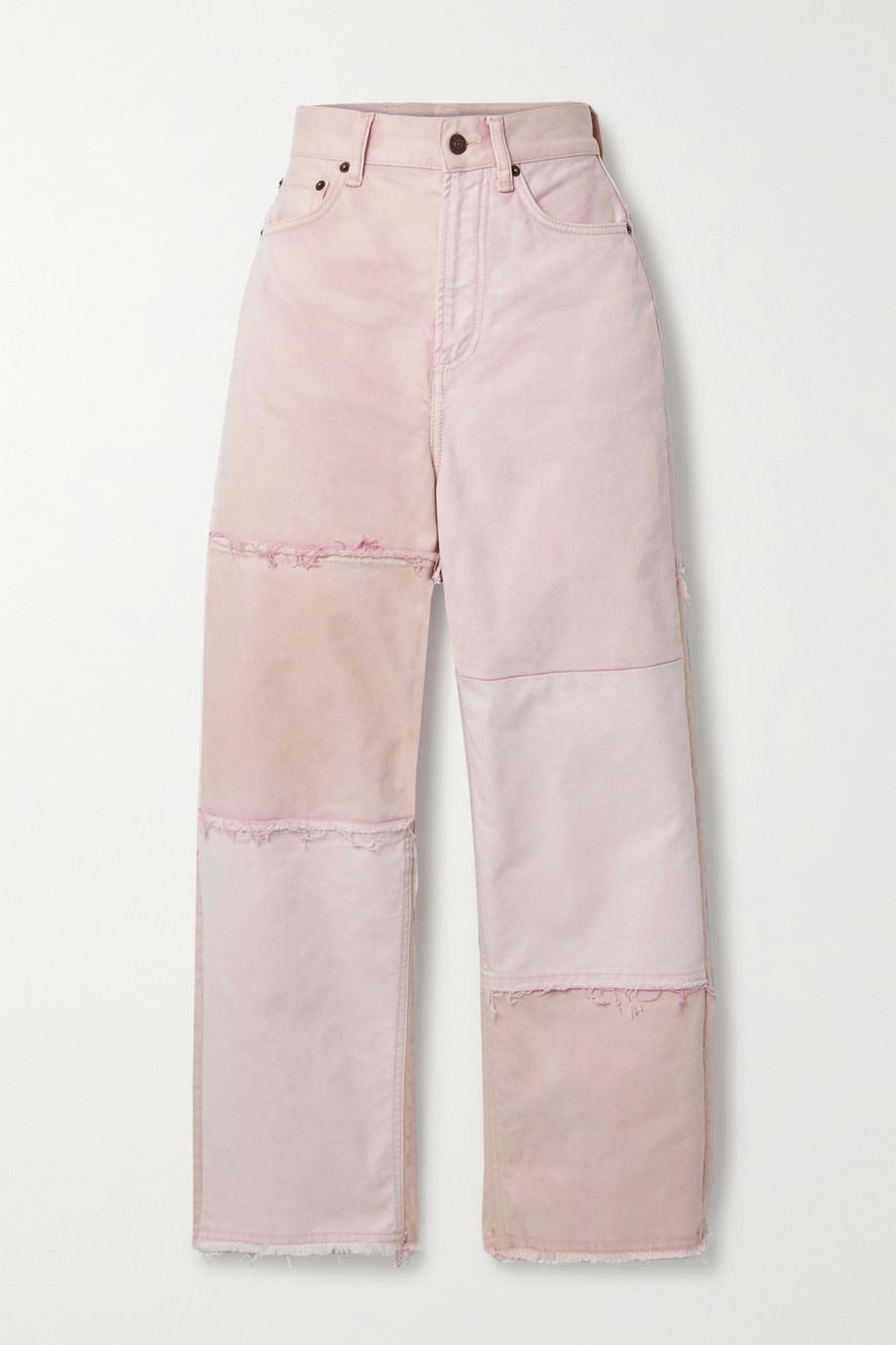 Acne Studios + NET SUSTAIN 1993 frayed patchwork organic high-rise straight-leg jeans