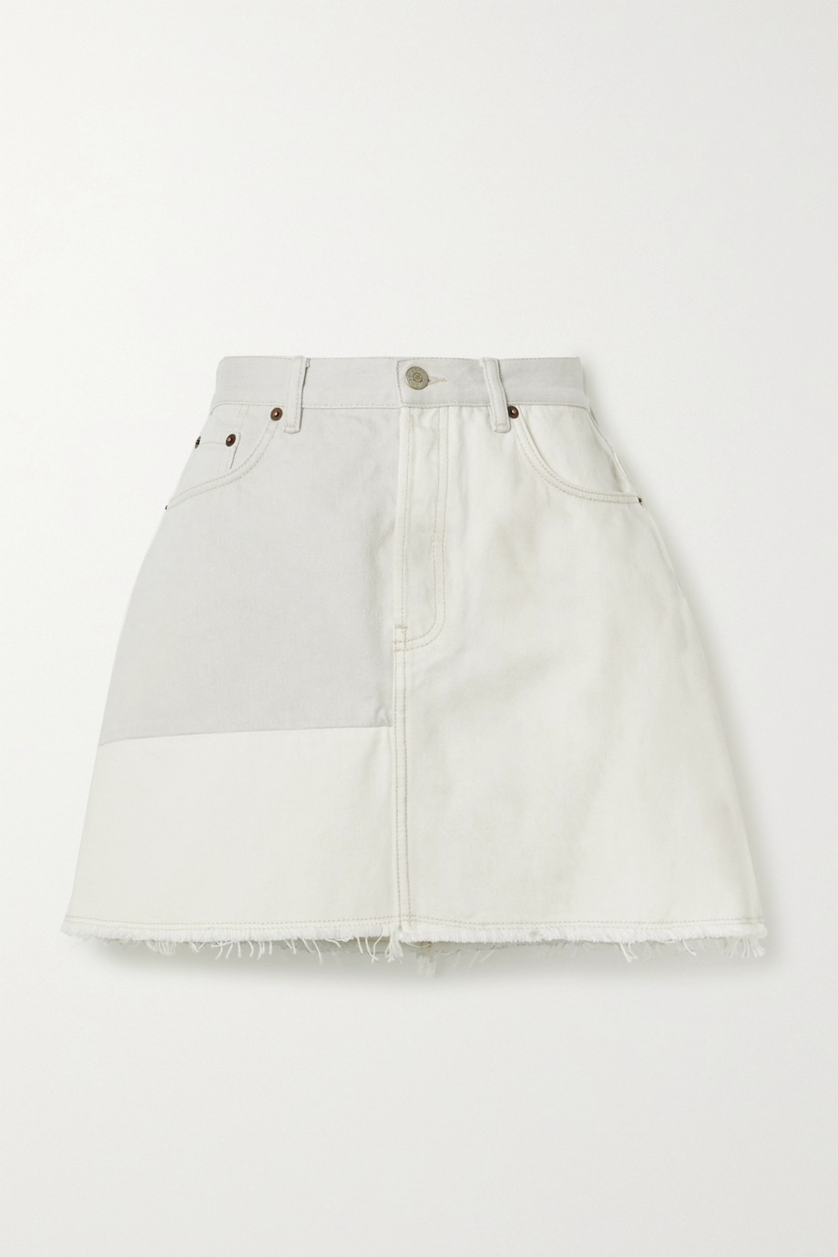 Acne Studios + NET SUSTAIN frayed patchwork organic denim mini skirt