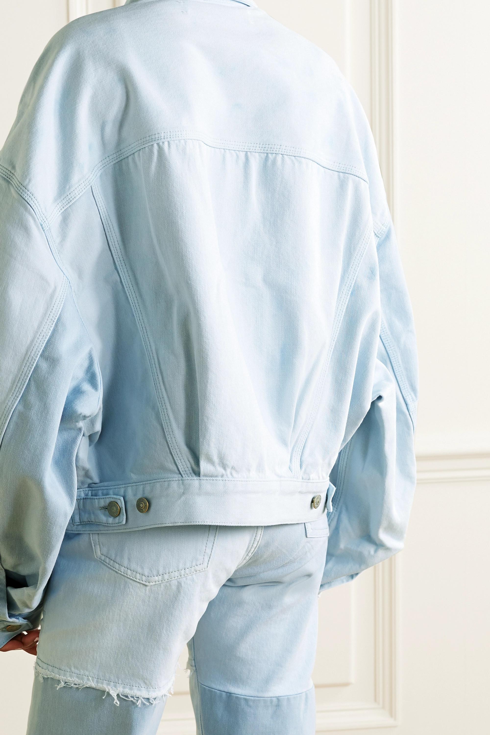 Acne Studios + NET SUSTAIN oversized frayed patchwork organic denim jacket