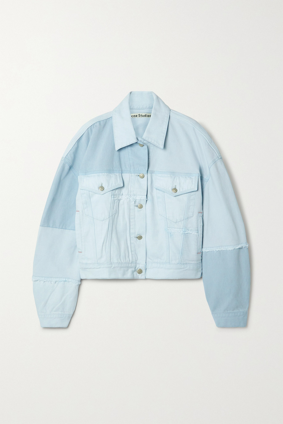 Acne Studios + NET SUSTAIN oversized frayed patchwork organic denim jacket
