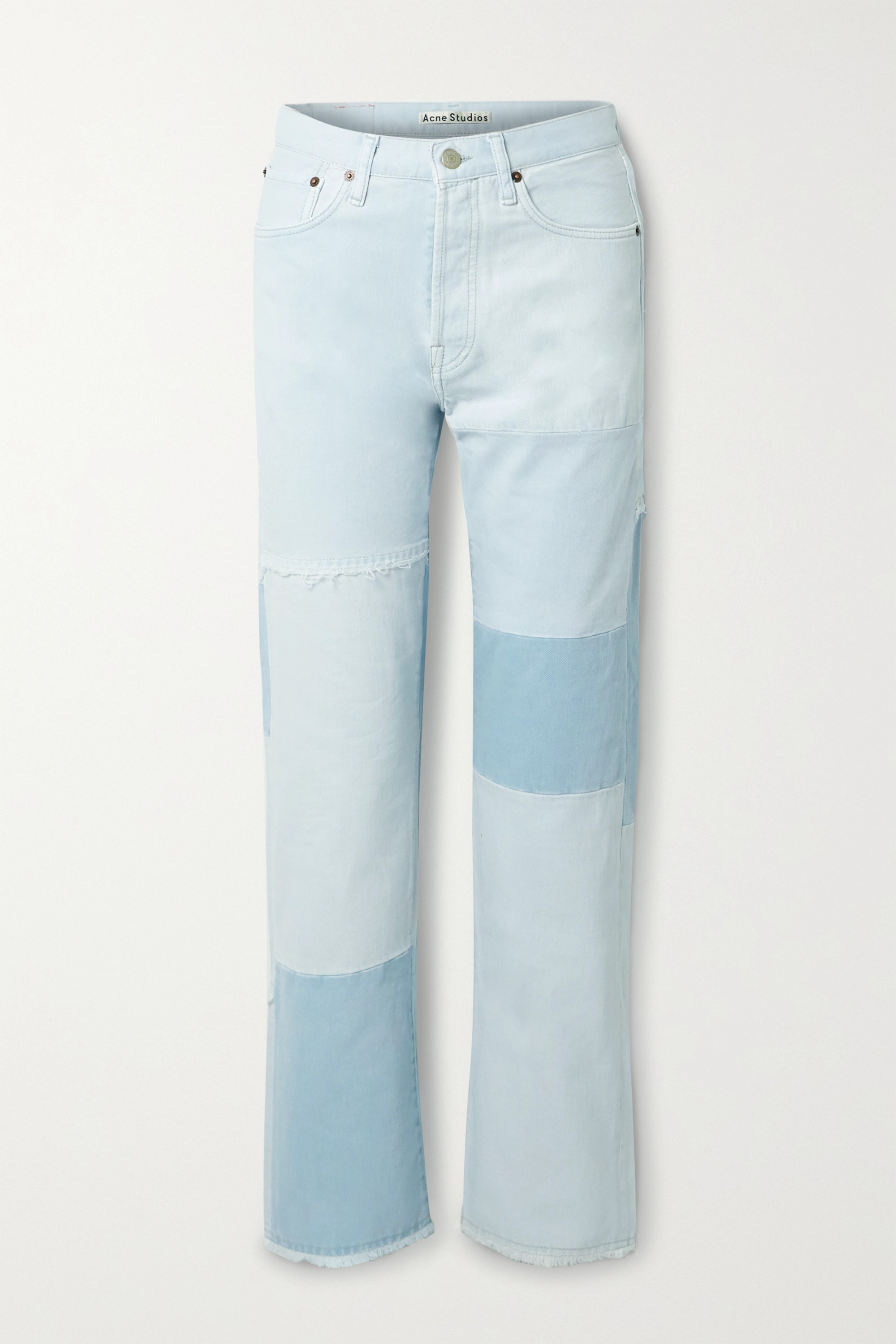 Acne Studios + NET SUSTAIN 1996 frayed patchwork organic high-rise straight-leg jeans