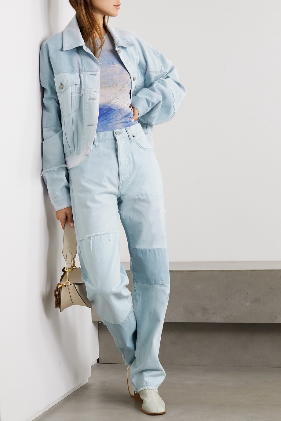 Acne Studios 【NET SUSTAIN】1996 毛边拼布有机高腰直筒牛仔裤