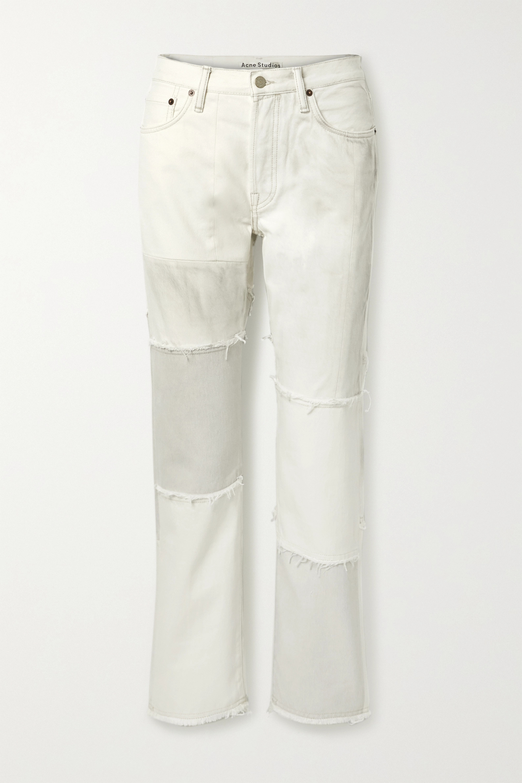 Acne Studios + NET SUSTAIN 1997 frayed patchwork organic high-rise straight-leg jeans