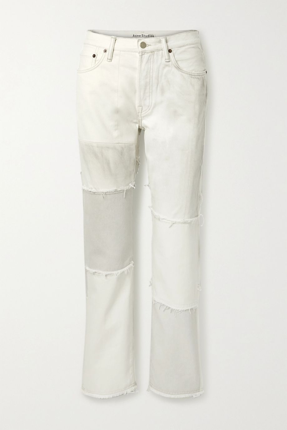 Acne Studios + NET SUSTAIN 1997 frayed patchwork organic high-rise straight-leg jeans
