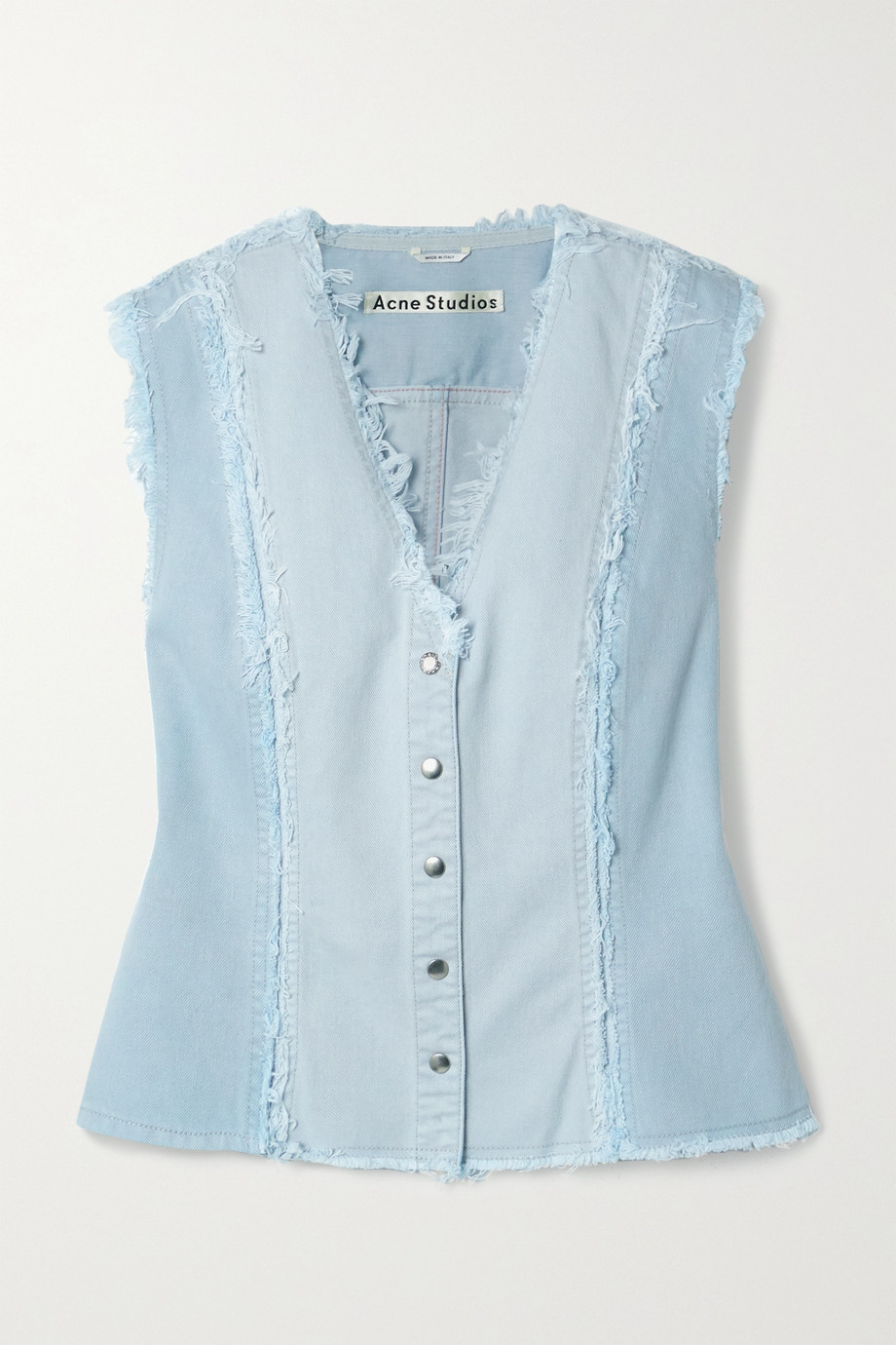 Acne Studios + NET SUSTAIN frayed patchwork organic denim vest
