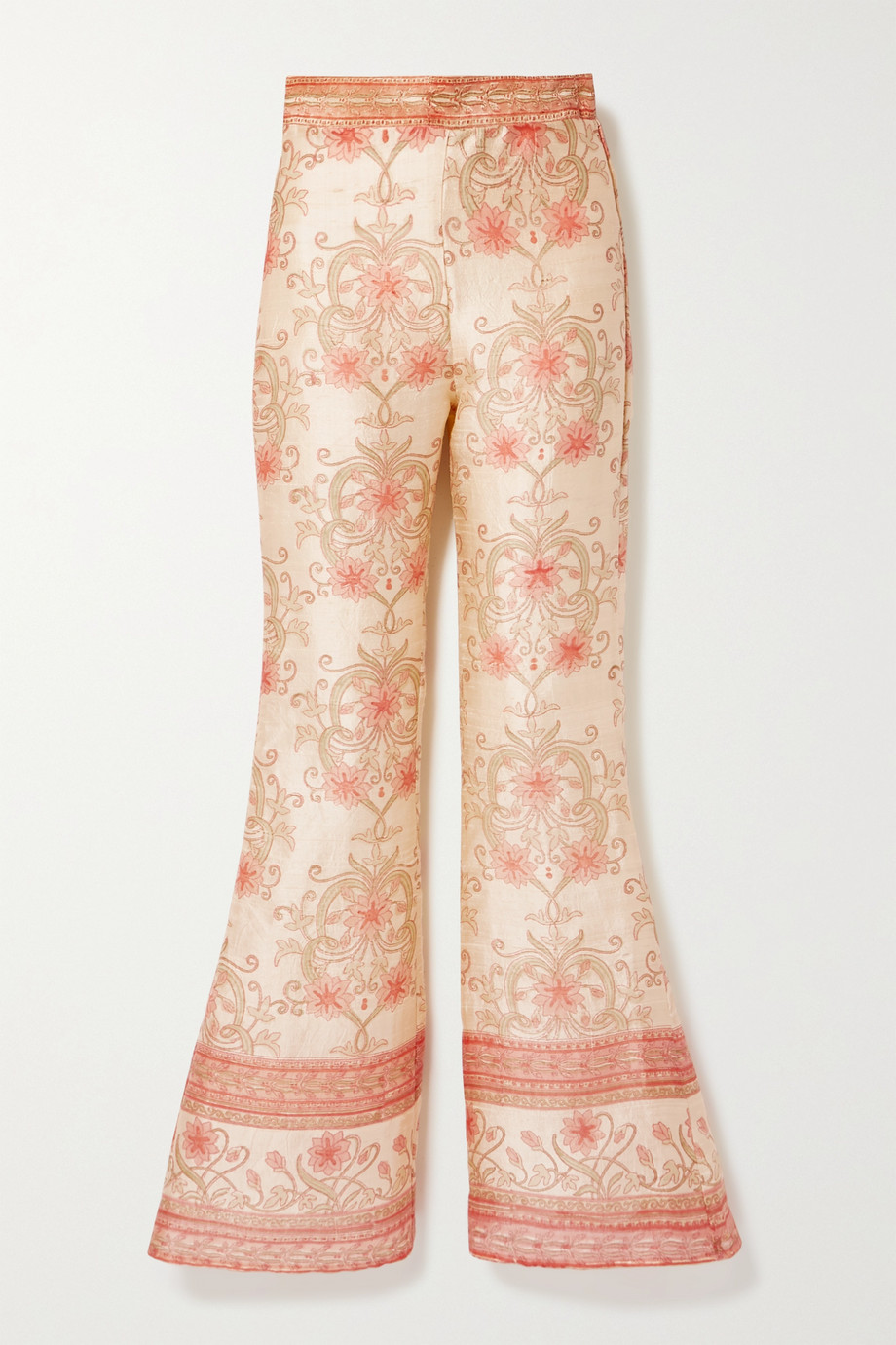 Savannah Morrow The Label The Ahimsa printed silk-dupioni flared pants