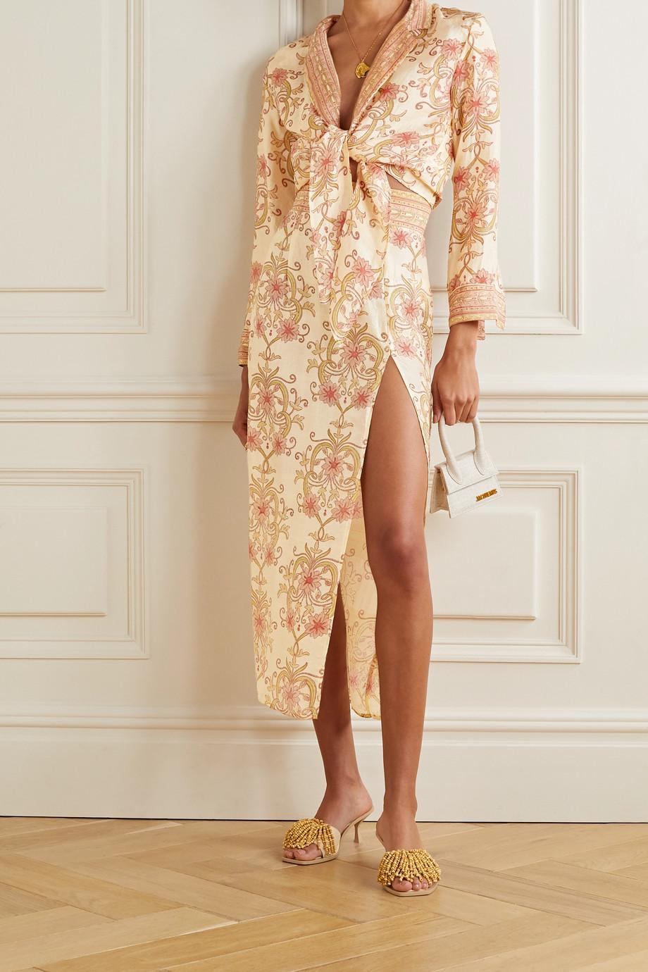 Savannah Morrow The Label The Ahimsa printed silk-dupioni midi skirt