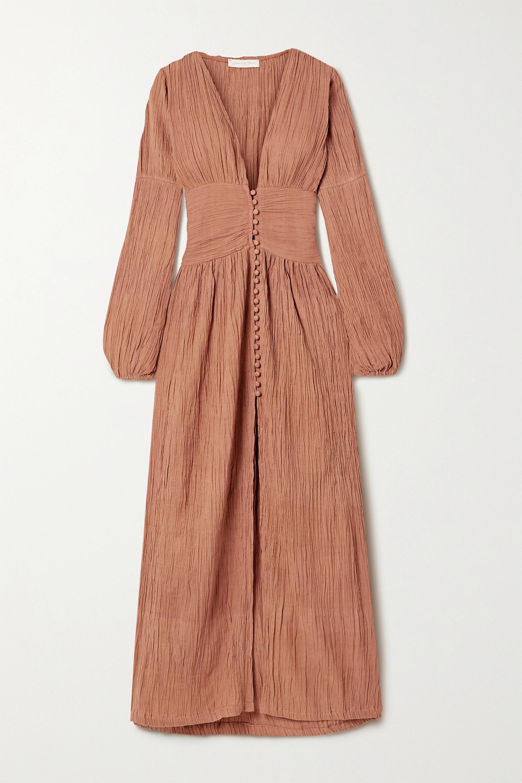 Savannah Morrow The Label + NET SUSTAIN The Oasis crinkled organic cotton-gauze maxi dress