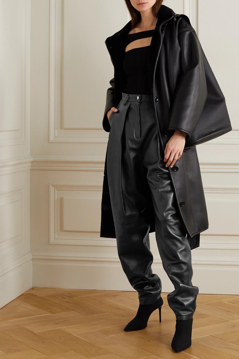 Magda Butrym Pantalon fuselé en cuir à plis