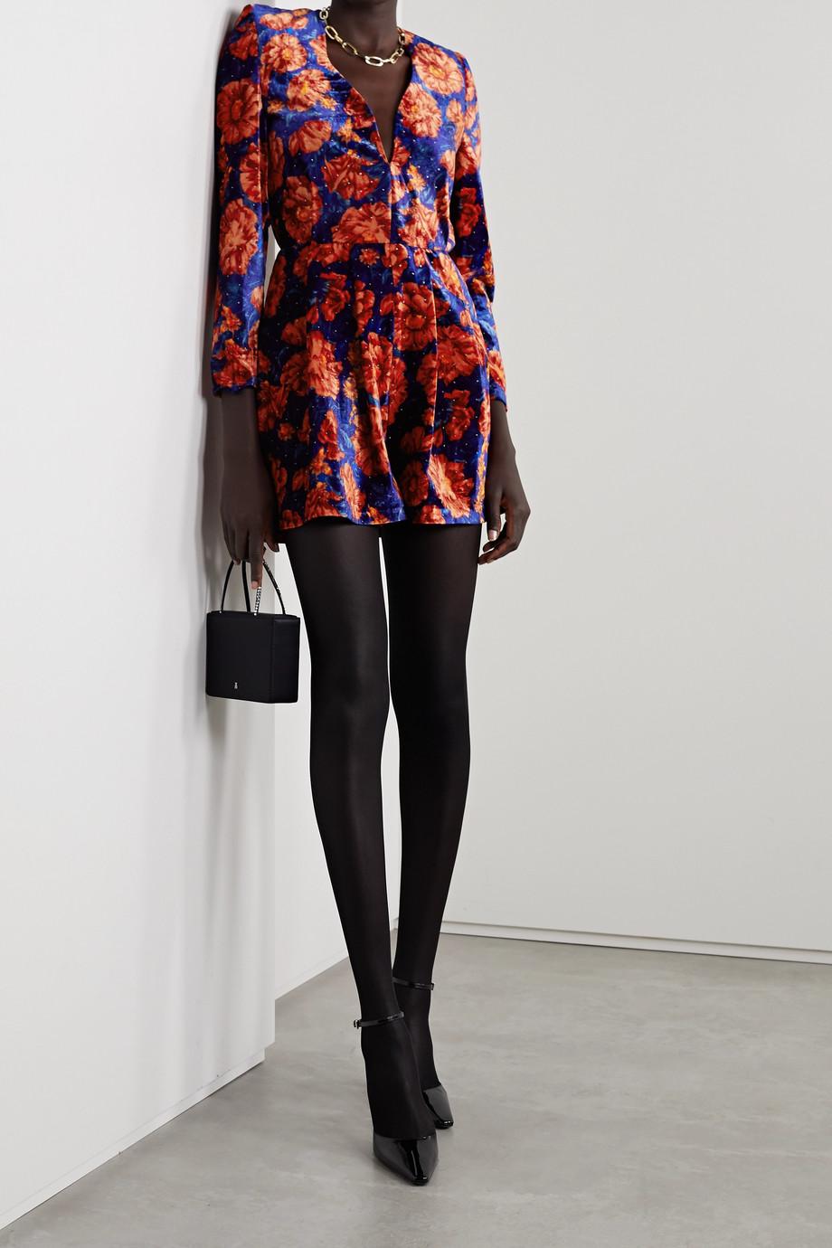 Magda Butrym Crystal-embellished floral-print velvet playsuit
