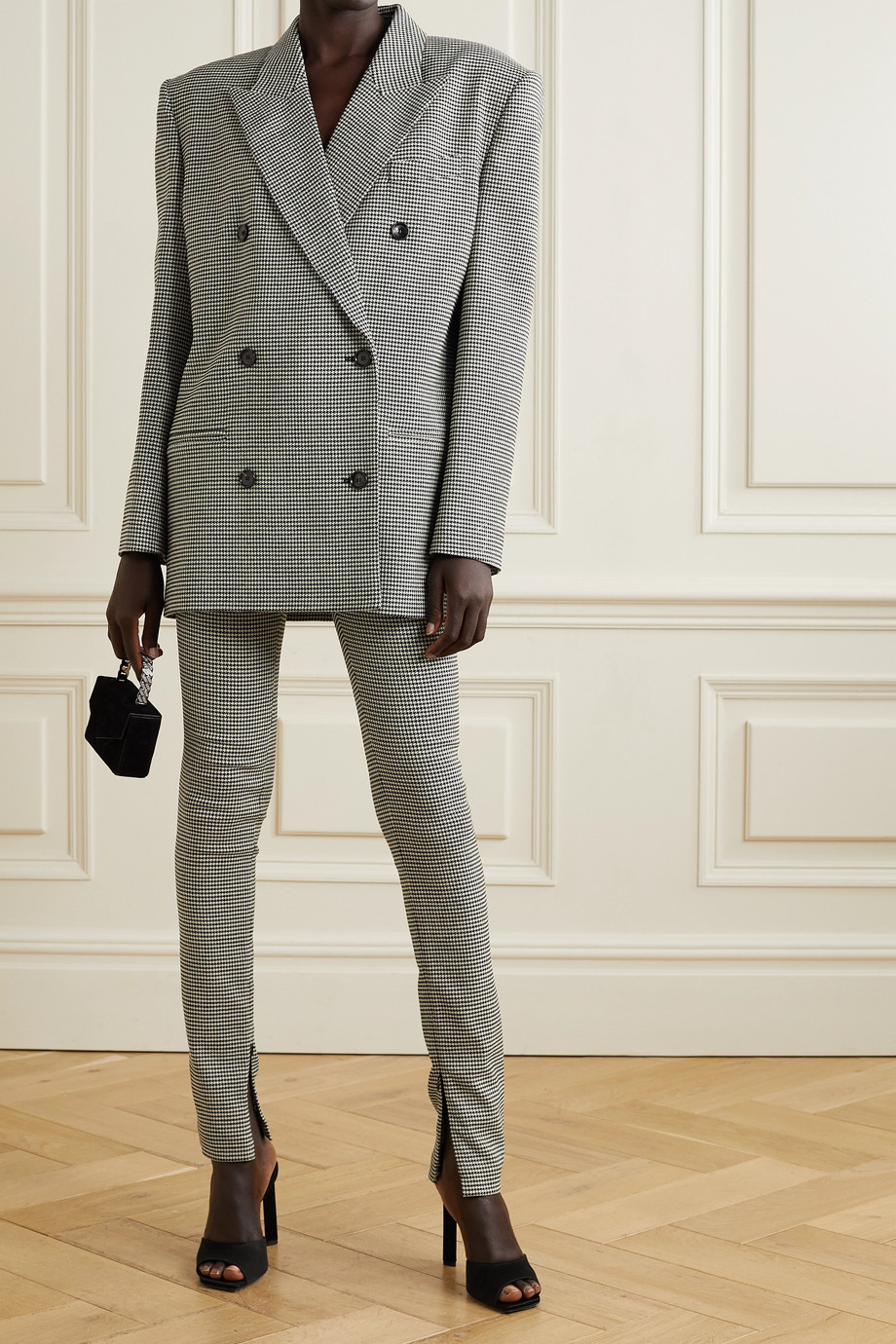 Magda Butrym Oversized double-breasted houndstooth wool-blend blazer