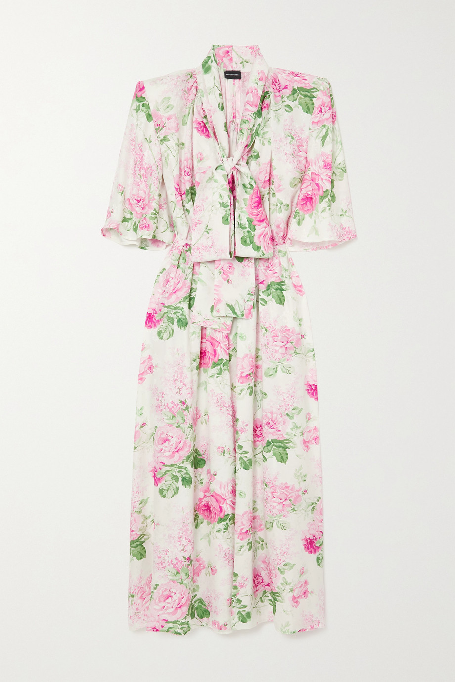 Magda Butrym Pussy-bow floral-print silk-jacquard maxi dress