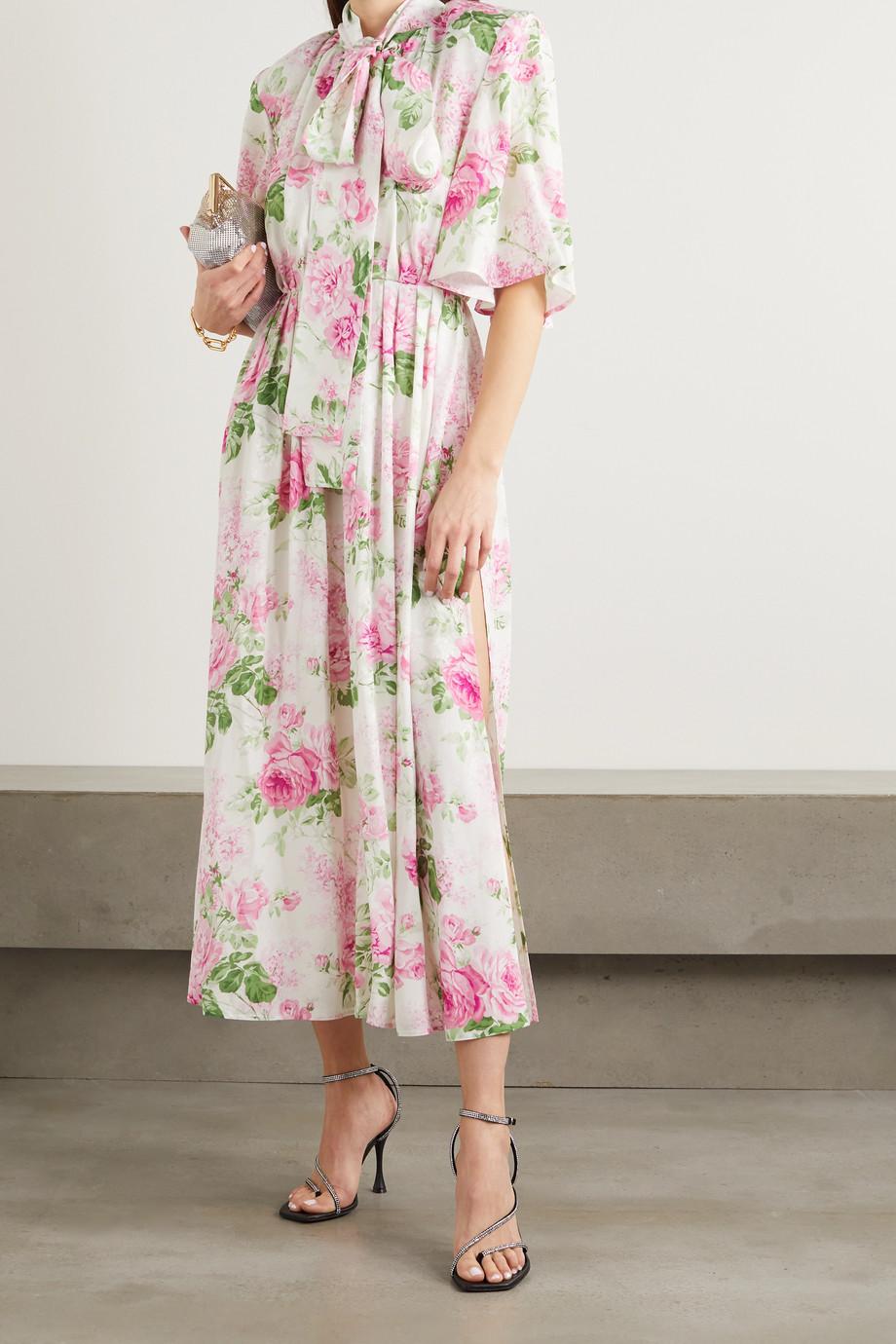 Magda Butrym Robe longue en jacquard de soie à imprimé fleuri et nœud lavallière