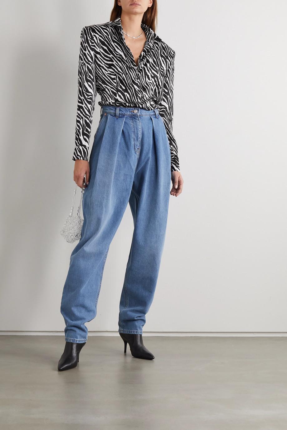 Magda Butrym Zebra-print silk-satin shirt