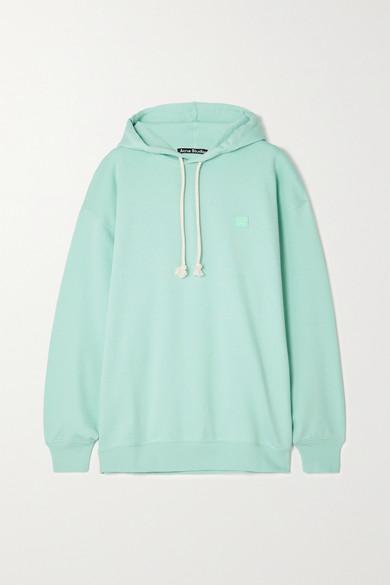 Acne Studios - + Net Sustain Farrin Face Oversized Appliquéd Organic Cotton-jersey Hoodie - Mint