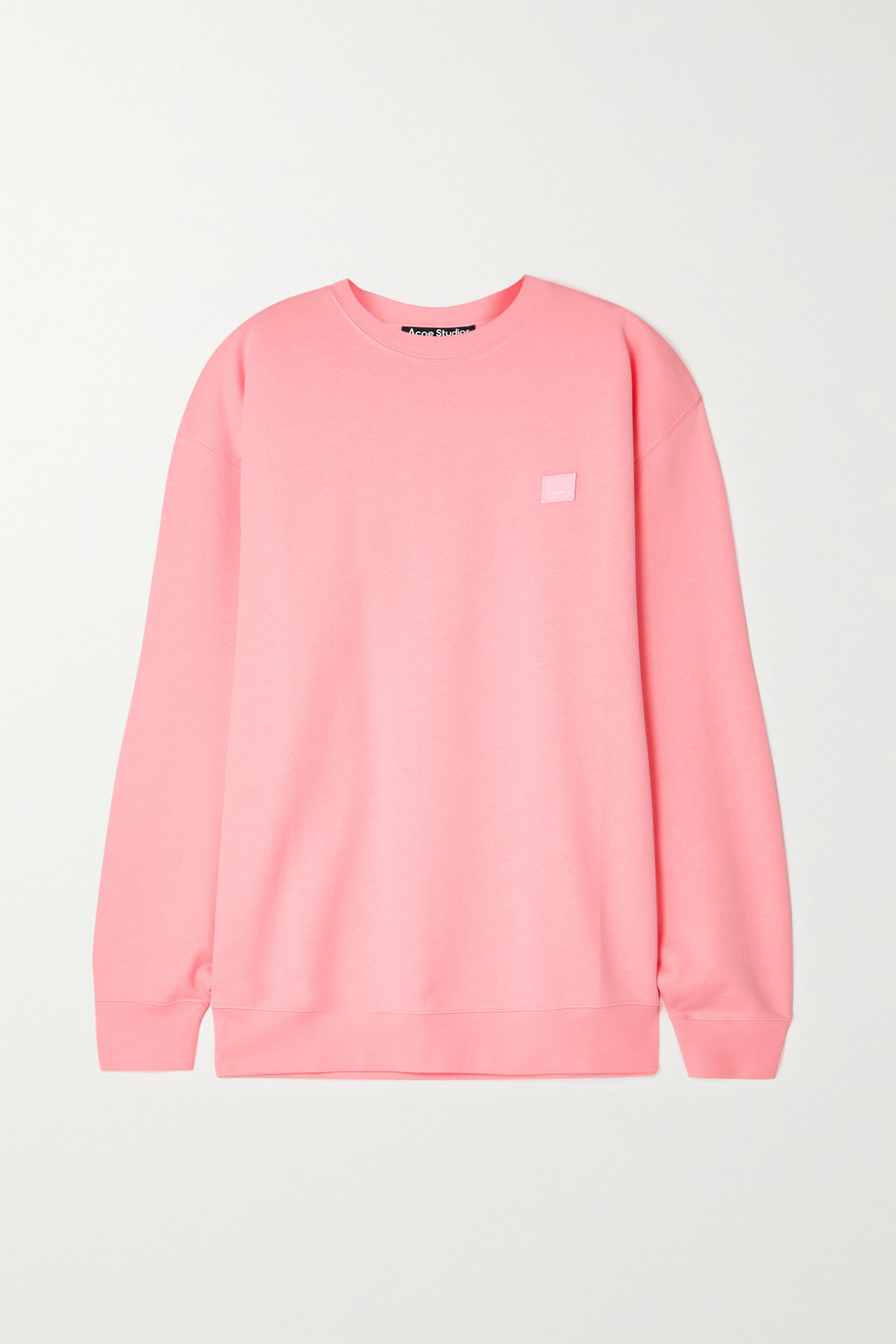 Acne Studios + NET SUSTAIN Forba Face oversized appliquéd organic cotton-jersey sweatshirt