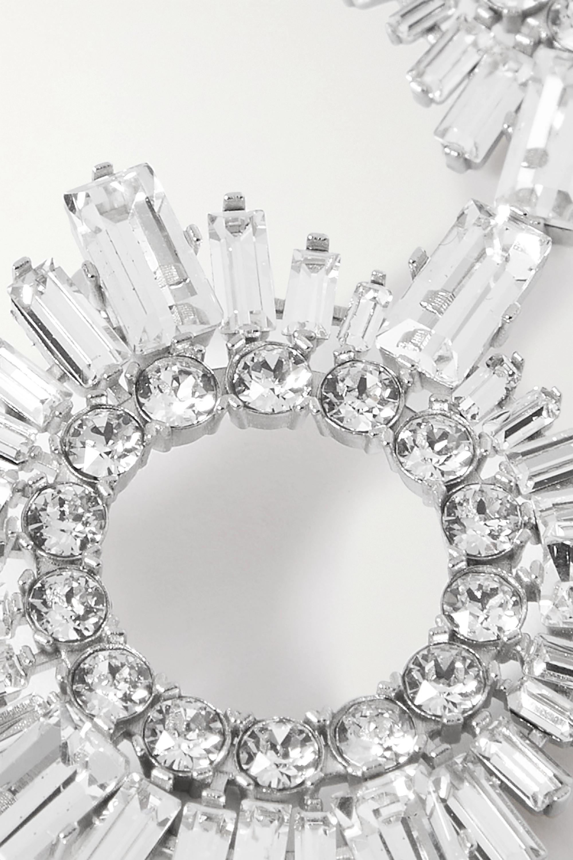 Amina Muaddi Begum mini silver-tone crystal earrings