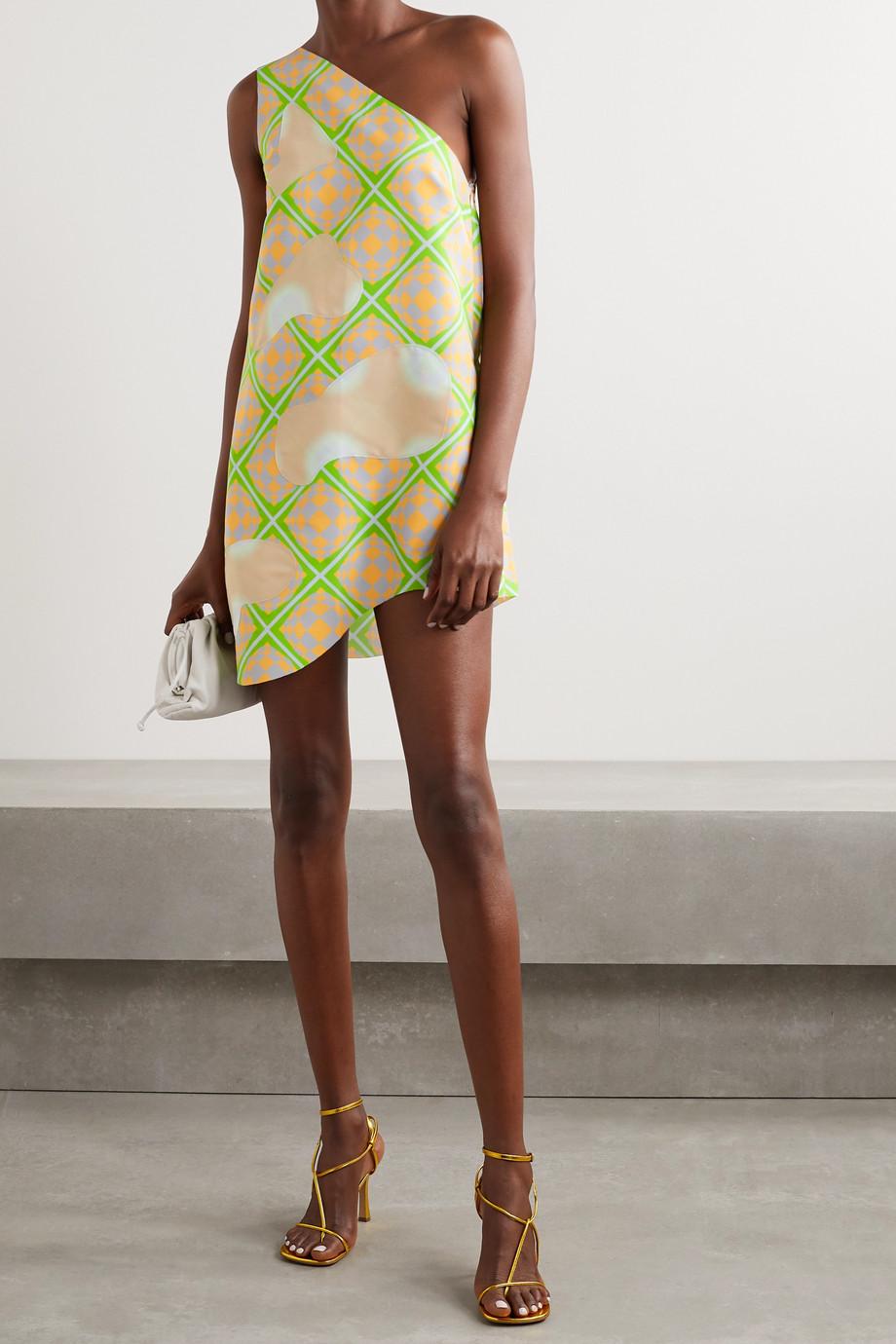 Maisie Wilen Bam Bam Minikleid aus bedrucktem Shell mit Applikationen und asymmetrischer Schulterpartie