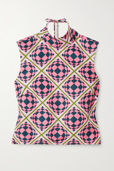 MAISIE WILEN TIED UP OPEN-BACK PRINTED SHELL TOP