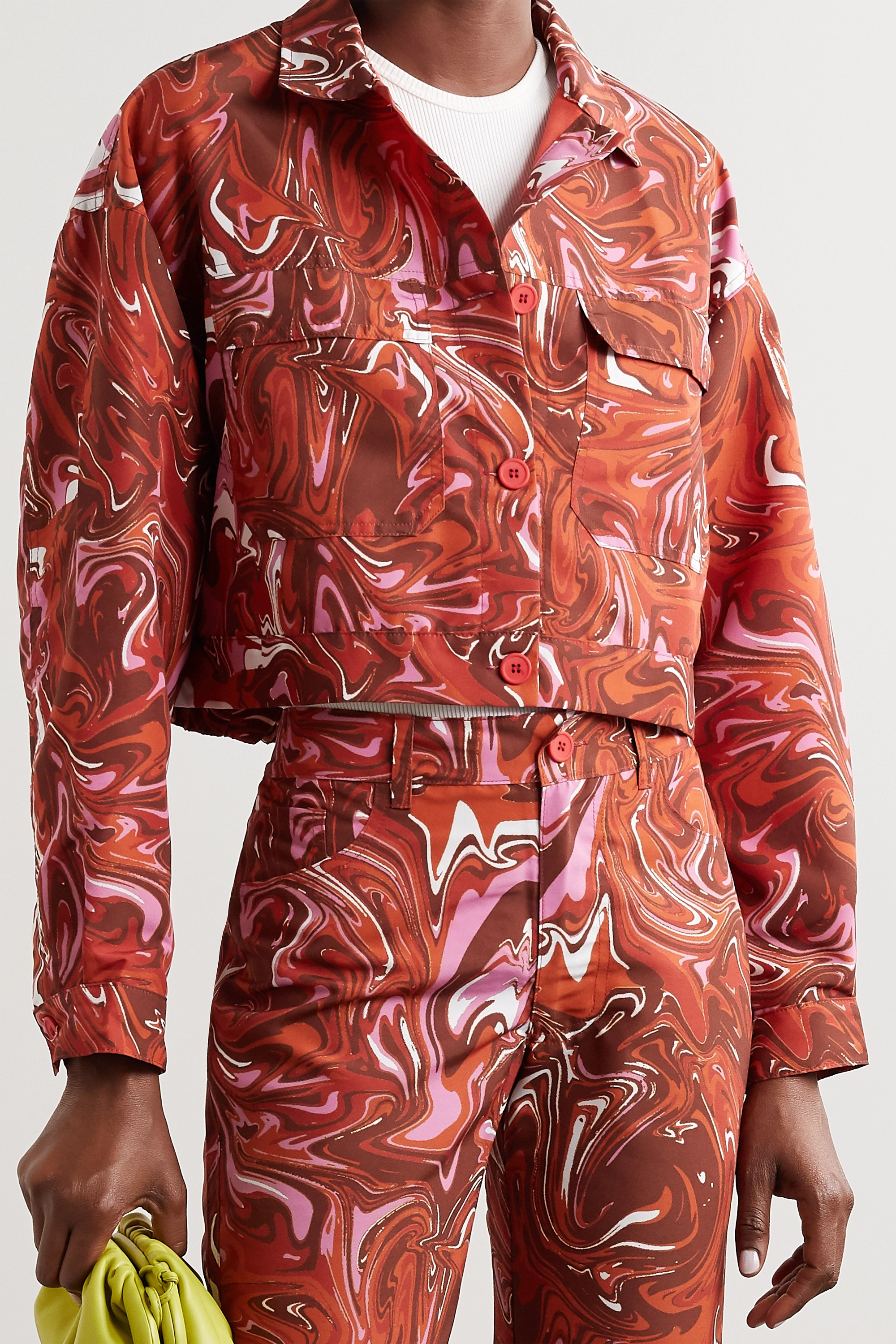 Maisie Wilen Club cropped printed shell jacket
