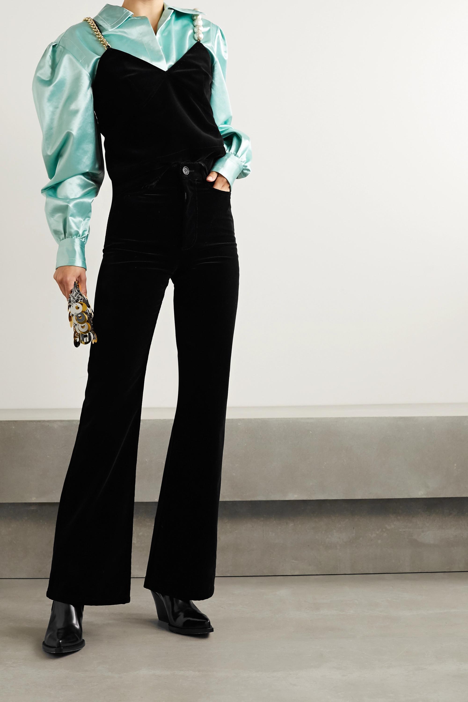 Meryll Rogge Top aus Baumwollsamt mit Kunstperlen und Kette