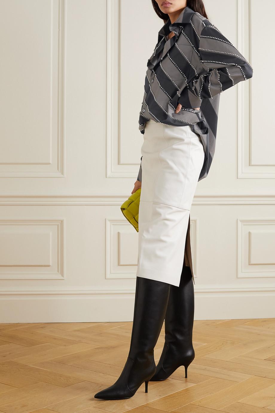 Meryll Rogge Oversized crystal-embellished striped cotton-poplin shirt