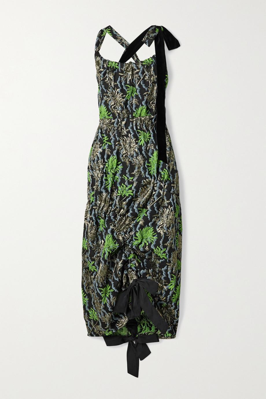 Meryll Rogge Asymmetric velvet-trimmed metallic cloqué-jacquard dress
