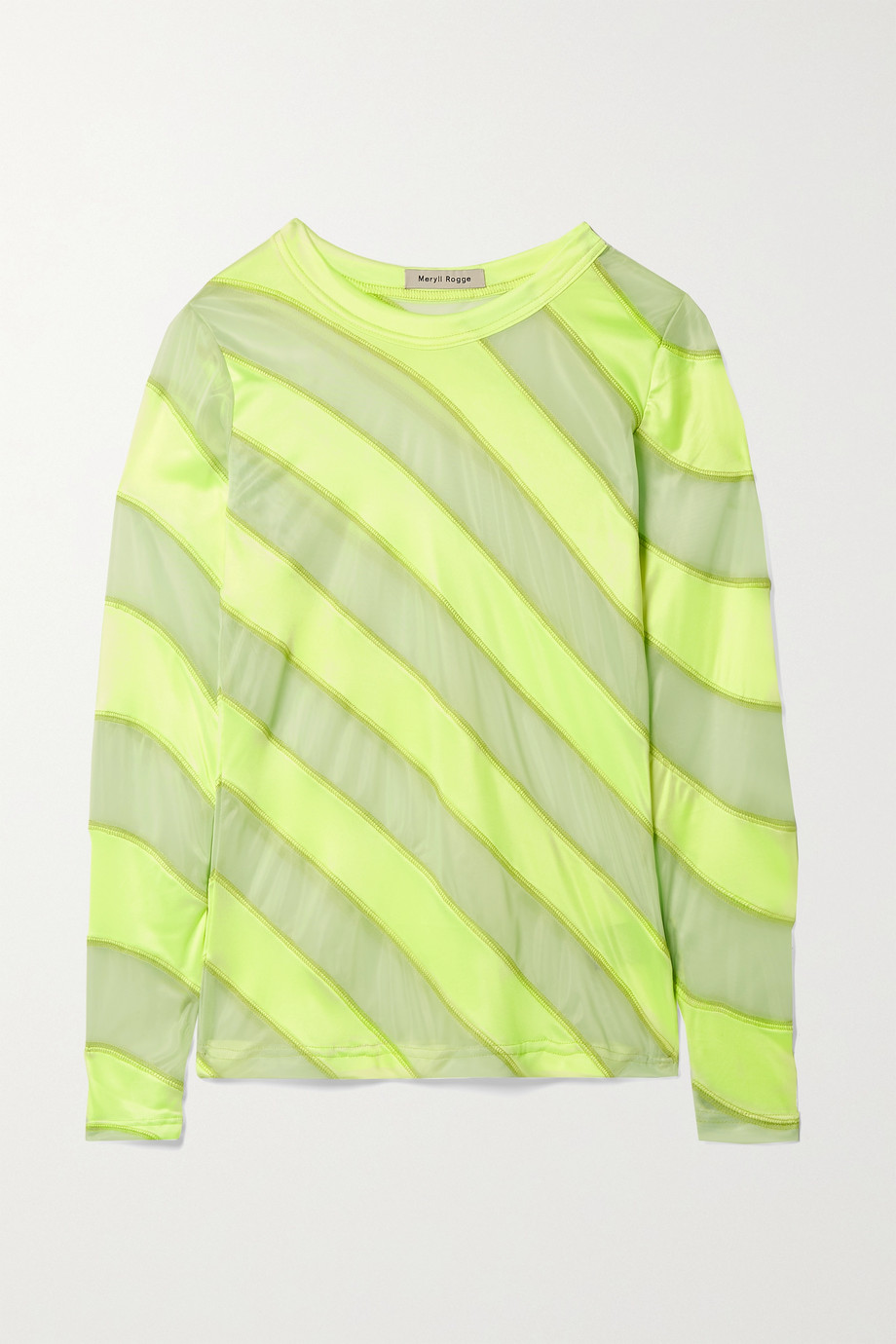 Meryll Rogge Neon satin-jersey and mesh top