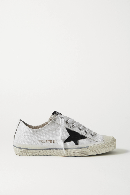 Golden Goose V-Star Sneakers aus Canvas in Distressed-Optik mit Lederbesatz