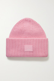 Acne Studios + NET SUSTAIN appliquéd ribbed wool beanie