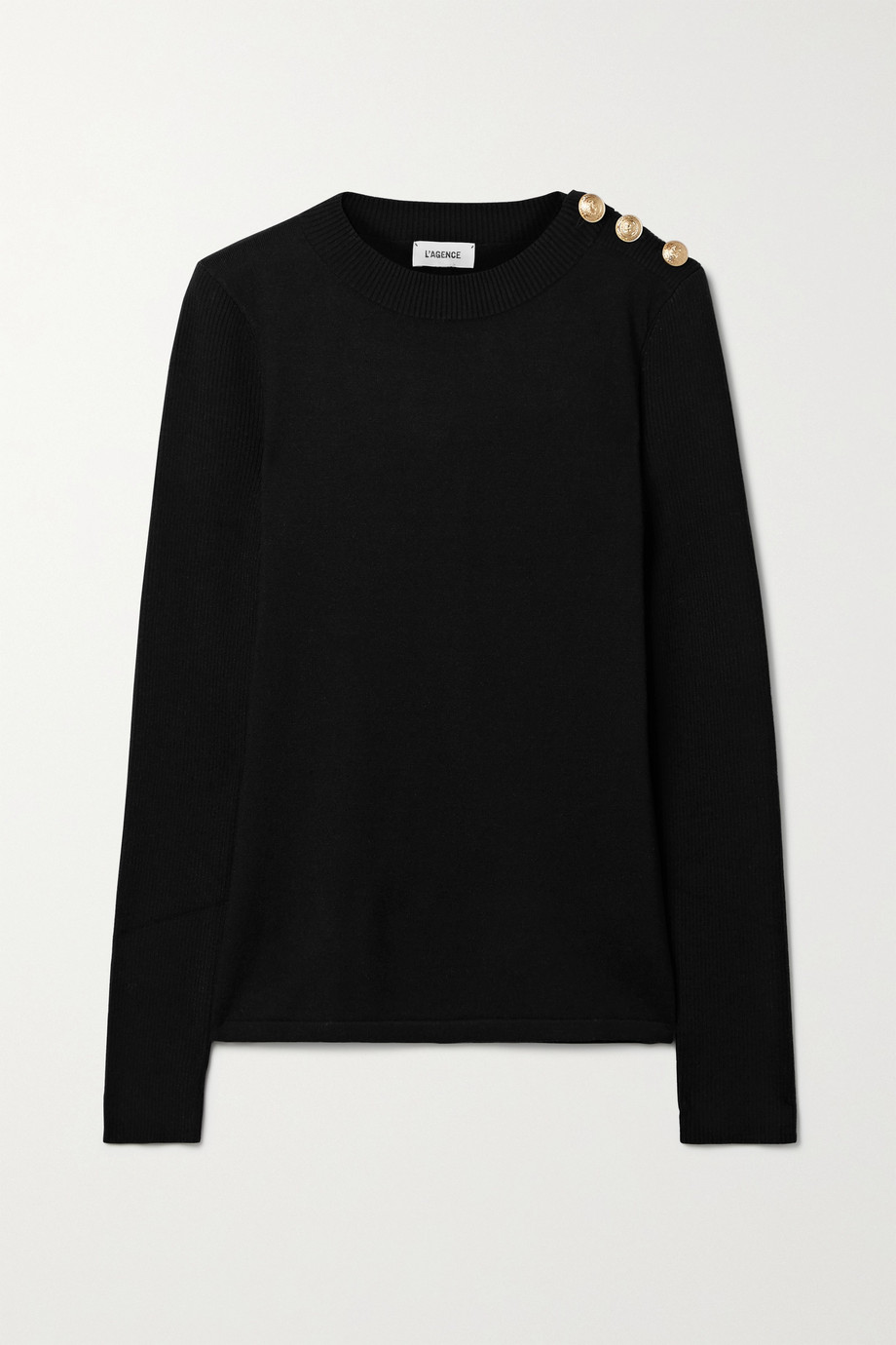 L'Agence Erica button-embellished knitted sweater