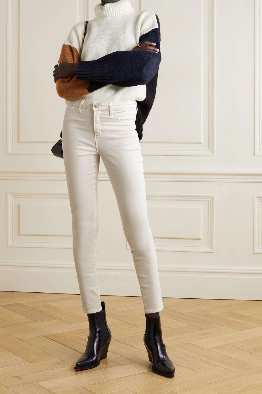 L'Agence Margot cropped velvet-trimmed high-rise skinny jeans