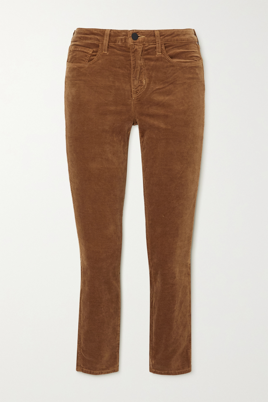 L'Agence Margot cropped cotton-blend velvet skinny pants