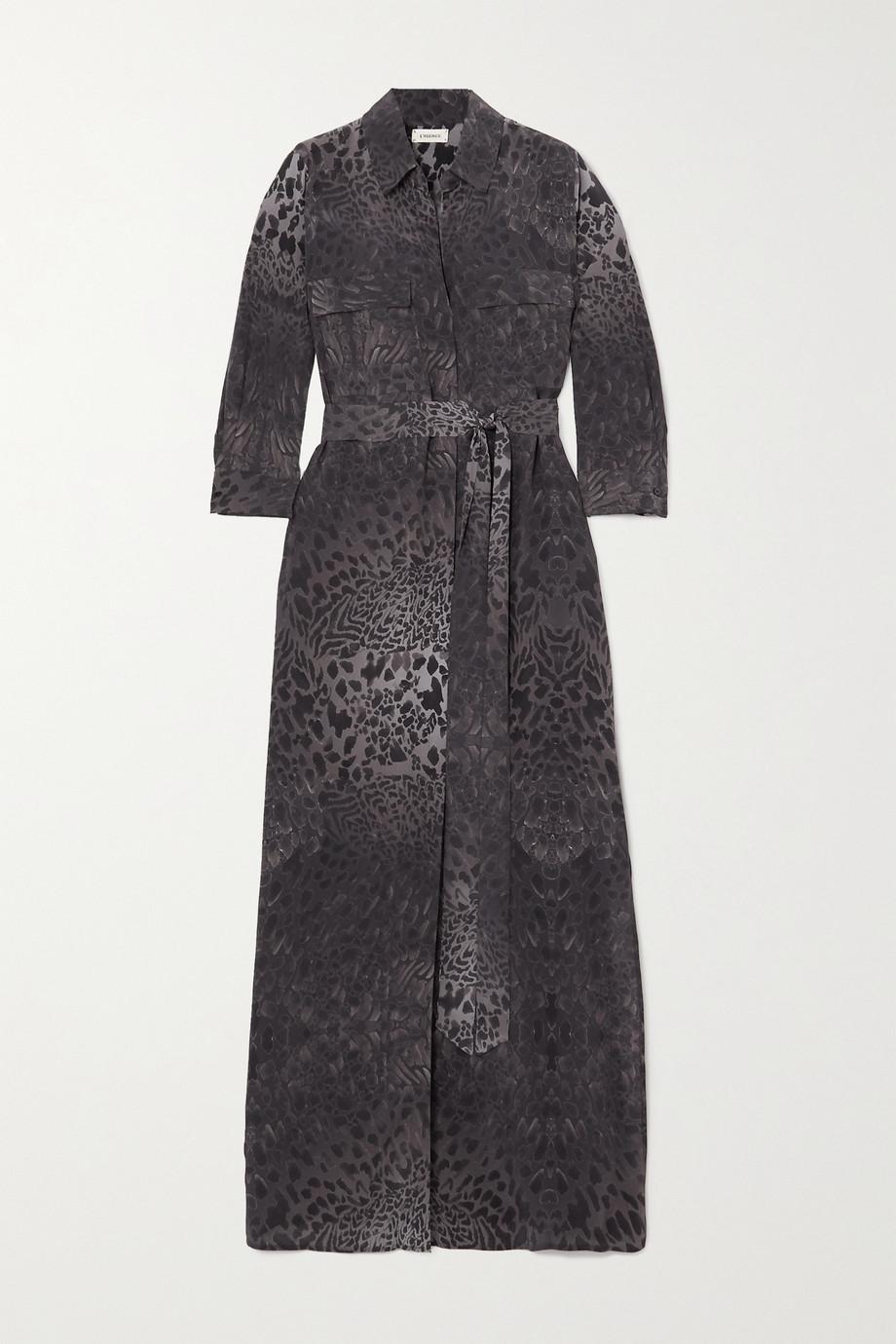 L'Agence Cameron belted animal-print silk midi shirt dress