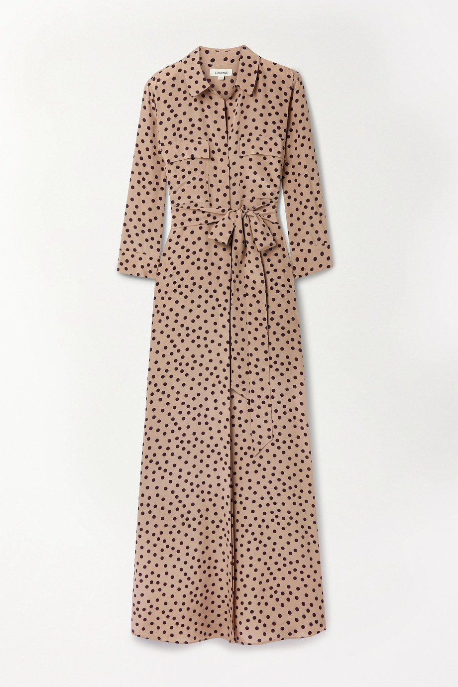 L'Agence Cameron belted polka-dot silk crepe de chine maxi shirt dress