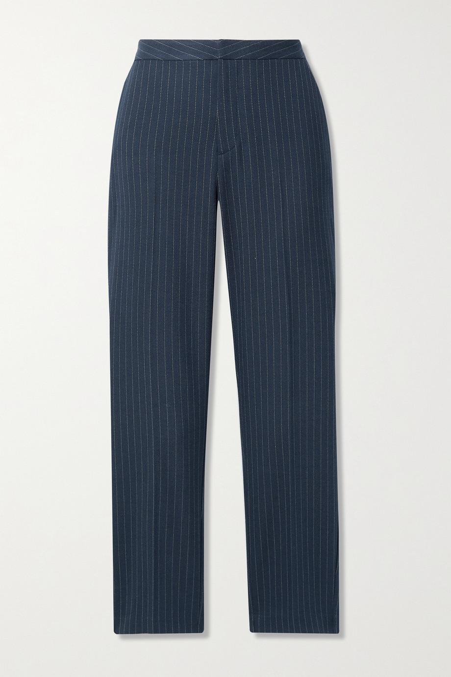L'Agence Pantalon slim raccourci tissé à chevrons et à fines rayures Sawyer