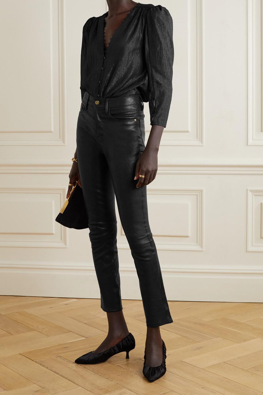 L'Agence Kimberly metallic crepon blouse