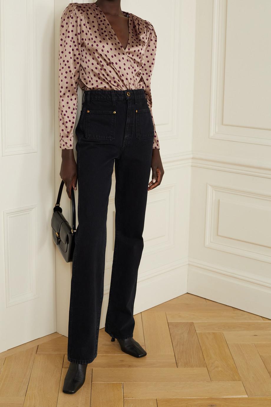 L'Agence Brenda wrap-effect polka-dot silk-blend satin and stretch-jersey bodysuit