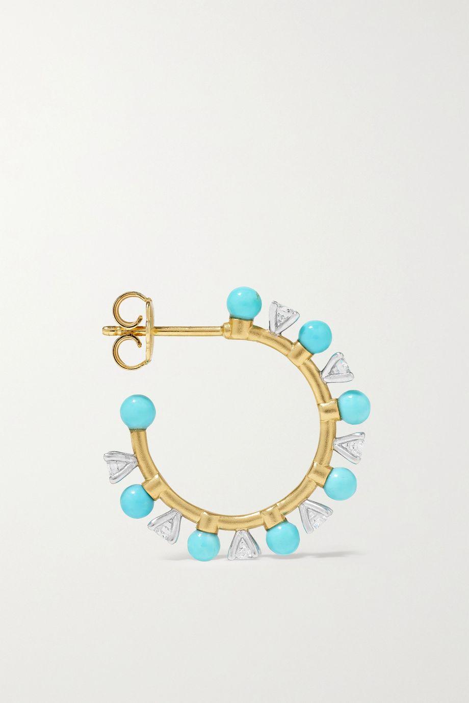 Irene Neuwirth Gumball 18-karat yellow and white gold, diamond and turquoise hoop earrings