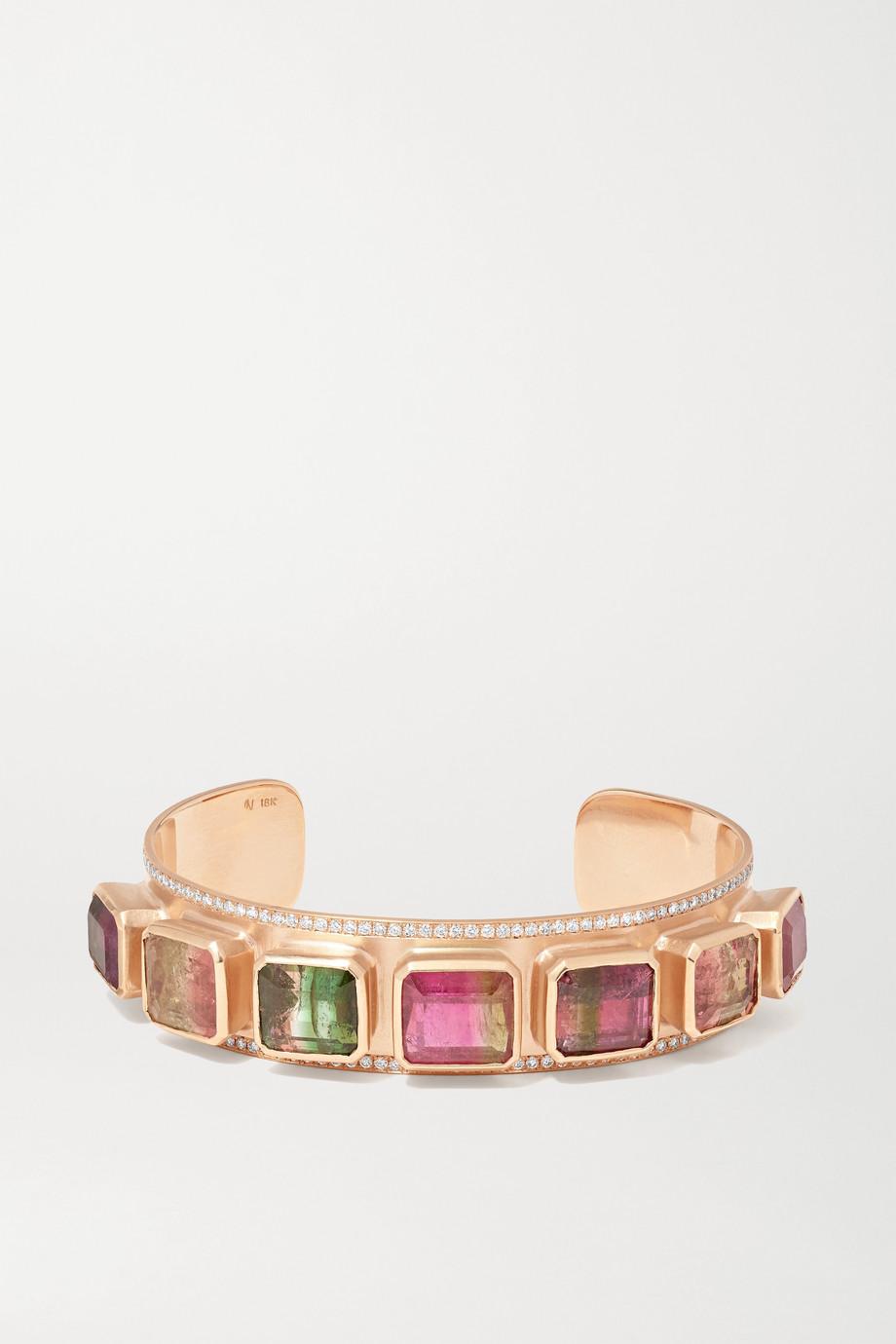 Irene Neuwirth Gemmy Gem 18-karat rose gold tourmaline and diamond cuff